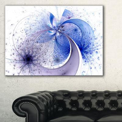 Designart Bright Blue Symmetrical Fractal FlowerFloral Canvas Art Print