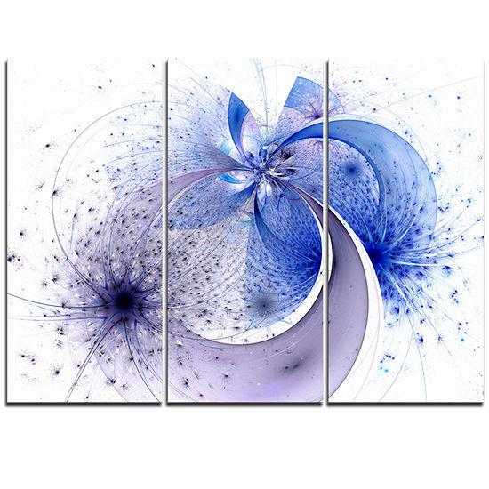 Designart Bright Blue Symmetrical Fractal FlowerFloral Triptych Canvas Art Print