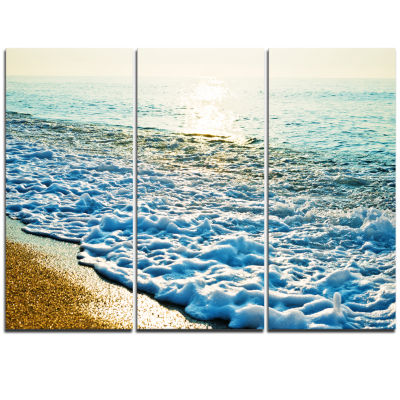 Designart Bright Blue Tranquil Seashore Beach Photo Triptych Canvas Print
