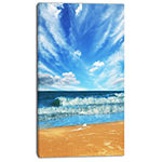 Designart Bright Blue Waters And Sky In Beach Large Seashore Canvas Print