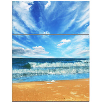 Designart Bright Blue Waters And Sky In Beach Large Seashore Canvas Print - 3 Panels