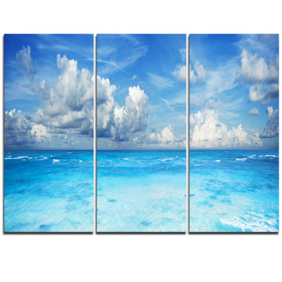Designart Bright Blue Waters And Sky Panorama Modern Seascape Triptych Canvas Artwork