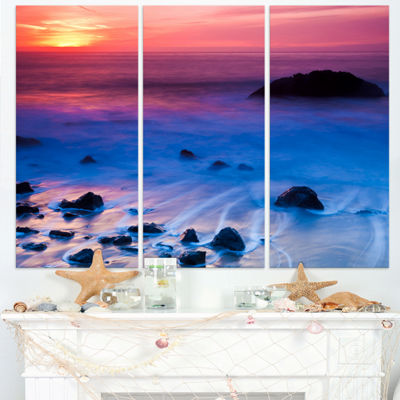 Designart Bright Colorful Rocky Coast Panorama Extra Large Seashore Triptych Canvas Art