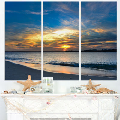 Designart Bright Colorful Sydney Sky Over Beach Large Seashore Triptych Canvas Print