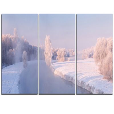 Designart Bright Colorful Winter Day Landscape Print Wall Artwork
