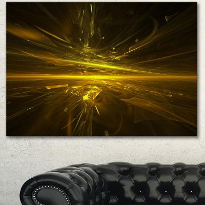 Designart Bright Golden Chaos Fractal Design Contemporary Abstract Wall Art - 3 Panels