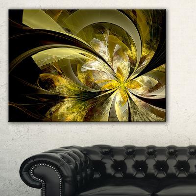 Designart Bright Golden Fractal Flower Design Floral Canvas Art Print