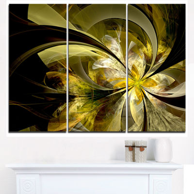 Designart Bright Golden Fractal Flower Design Floral Triptych Canvas Art Print