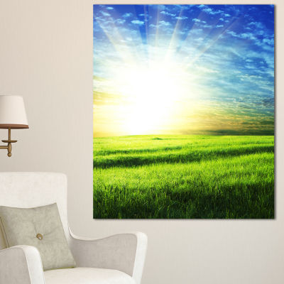 Designart Bright Green Field At Sunrise OversizedLandscape Canvas Art - 3 Panels