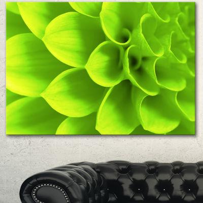 Designart Bright Green Flower Petals Floral CanvasArt Print