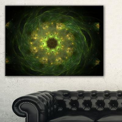 Designart Bright Green Fractal Flower In Black Floral Canvas Art Print