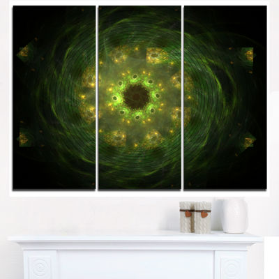 Designart Bright Green Fractal Flower In Black Floral Triptych Canvas Art Print
