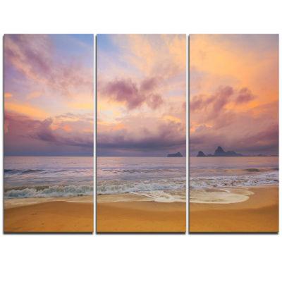 Designart Bright Morning Over The Sea Modern Seashore Triptych Canvas Art