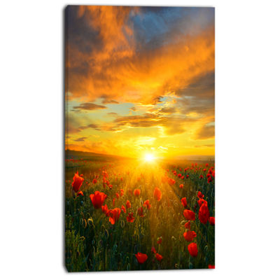Designart Bright New Day Over Poppy Fields FloralCanvas Art Print