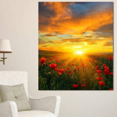 Designart Bright New Day Over Poppy Fields FloralCanvas Art Print - 3 Panels