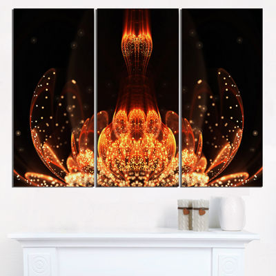 Designart Bright Orange Glossy Fractal Flower Large Floral Wall Art Triptych Canvas