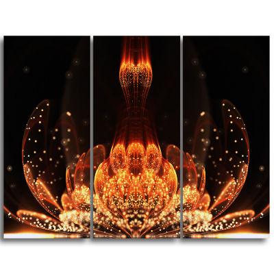 Designart Bright Orange Glossy Fractal Flower Large Floral Wall Art Triptych Canvas