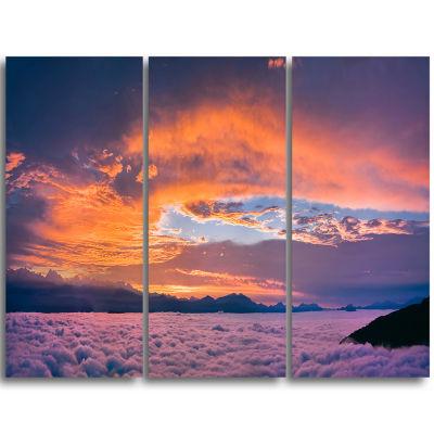 Designart Bright Panoramic Sunset Over Sea Extra Large Wall Art Landscape