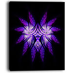 Designart Bright Purple In Black Fractal Flower Large Abstract Canvas Artwork