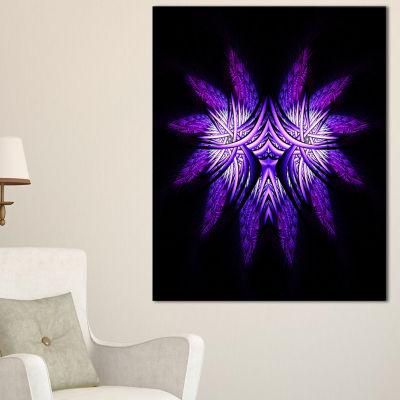 Designart Bright Purple In Black Fractal Flower Large Abstract Canvas Artwork