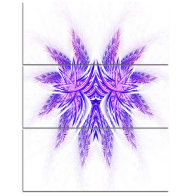 Designart Bright Purple Unique Fractal Flower Large Abstract Triptych Canvas Artwork