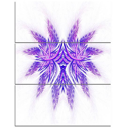 Designart Bright Purple Unique Fractal Flower Large Abstract Triptych Canvas Artwork