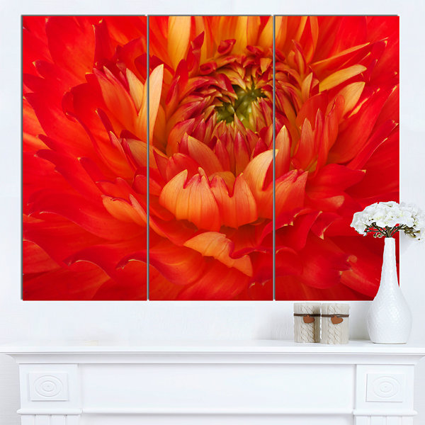 Designart Bright Red Close Up Flower Petals FloralCanvas Art Print - 3 Panels
