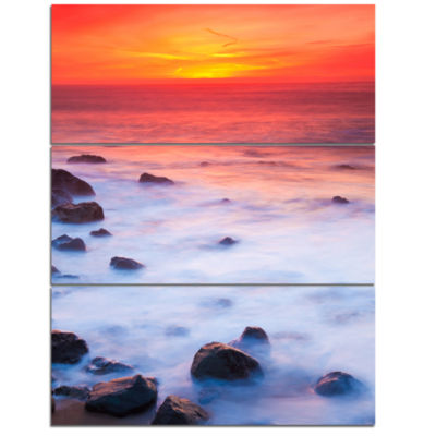 Designart Bright Red Rocky Coast Sunset Extra Large Seashore Triptych Canvas Art
