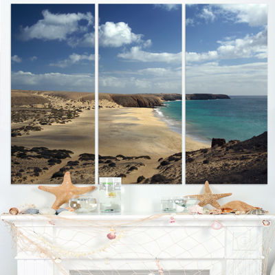 Designart Bright Seashore With Blue Waters Extra Large Seashore Triptych Canvas Art