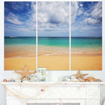 Designart Bright Seashore With Heavy Clouds ModernBeach Triptych Canvas Art Print