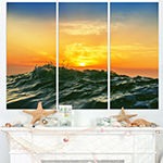 Designart Bright Sunlight And Glowing Waves BeachPhoto Triptych Canvas Print
