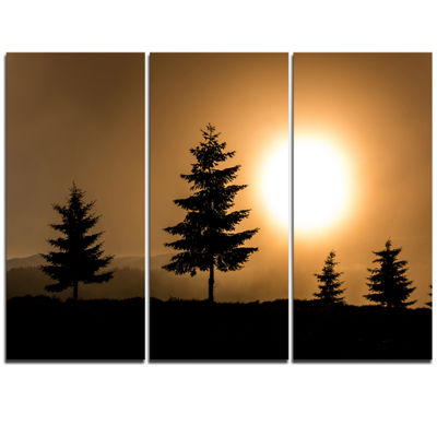 Designart Bright Sunrise Tree Silhouette LandscapeTriptych Canvas Art Print