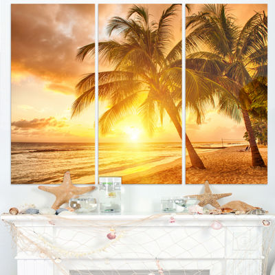 Designart Bright Sunset At Barbados Island ModernSeascape Triptych Canvas Artwork