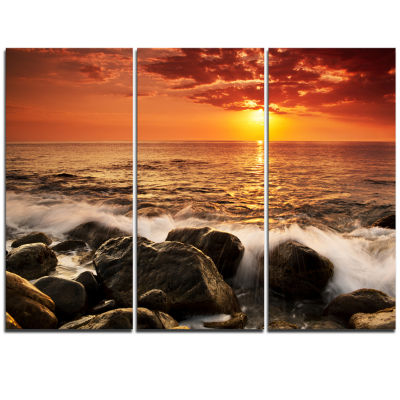 Designart Bright Sunset Over Rocky Shore Modern Seashore Triptych Canvas Art