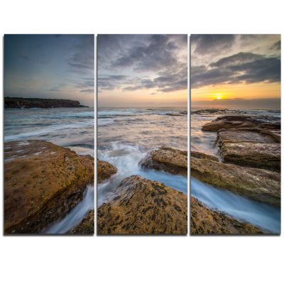 Designart Bright Sydney Coastline View Seascape Triptych Canvas Art Print