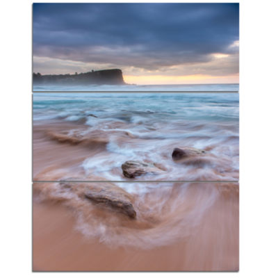Designart Bright Sydney Sea With Long Waves LargeSeashore Triptych Canvas Print
