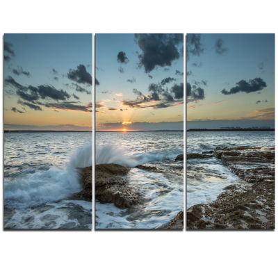 Designart Bright Sydney Sunset Over Sea Seascape Triptych Canvas Art Print