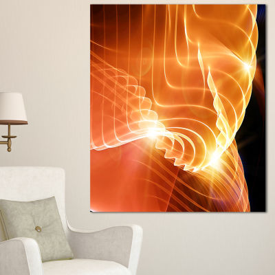 Designart Bright Yellow 3D Abstract Design Contemporary Abstract Wall Art