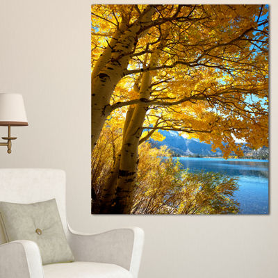 Designart Bright Yellow Autumn Tree Oversized Landscape Canvas Art