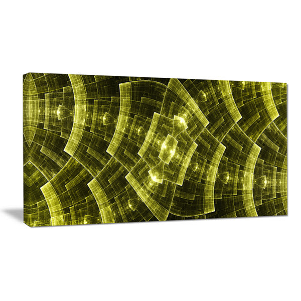 Designart Bright Yellow Fractal Flower Grid Abstract Art On Canvas
