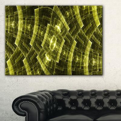 Designart Bright Yellow Fractal Flower Grid Abstract Art On Canvas