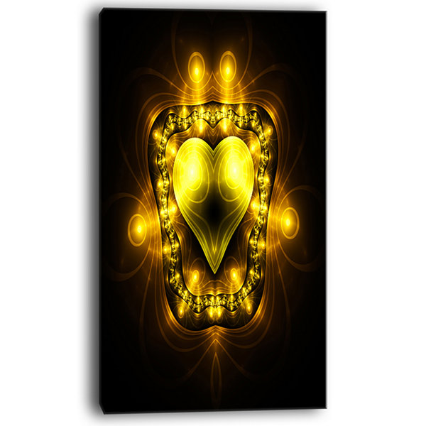 Designart Bright Yellow In Black Fractal Flower Large Abstract Canvas Artwork