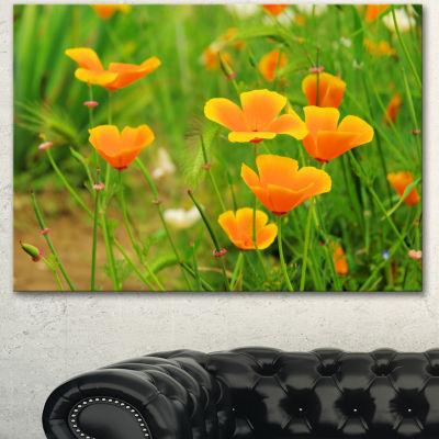 Designart Bright Yellow Poppy Flowers Floral Canvas Art Print - 3 Panels