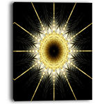 Designart Bright Yellow Rounded Fractal Flower Floral Canvas Art Print