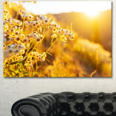 Designart Bright Yellow Rural Garden Flowers Floral Canvas Art Print - 3 Panels