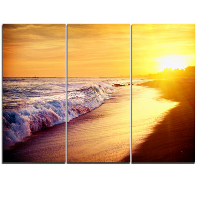 Designart Bright Yellow Sky With Foam Waves LargeSeashore Triptych Canvas Print