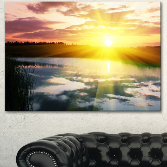 Designart Bright Yellow Sunrise Over Lake Large Seashore Canvas Print