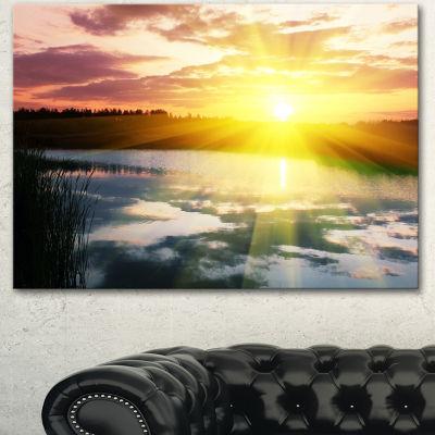 Designart Bright Yellow Sunrise Over Lake Large Seashore Canvas Print
