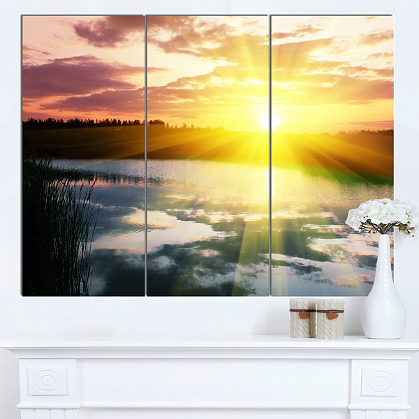 Designart Bright Yellow Sunrise Over Lake Large Seashore Canvas Print - 3 Panels