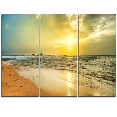 Designart Bright Yellow Sunset Beach Panorama Modern Seascape Triptych Canvas Artwork